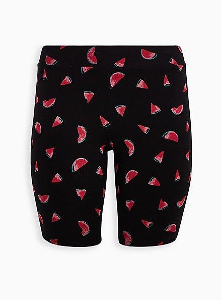 Black Watermelon Print Bike Short, MULTI, hi-res