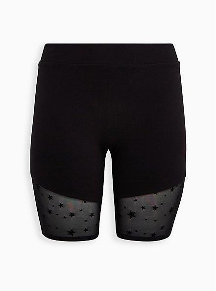 Plus Size Black Star Flocked Hem Bike Short, BLACK, hi-res