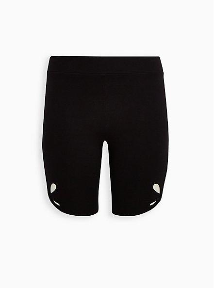 Black O-Ring Cutout Hem Bike Short, BLACK, hi-res