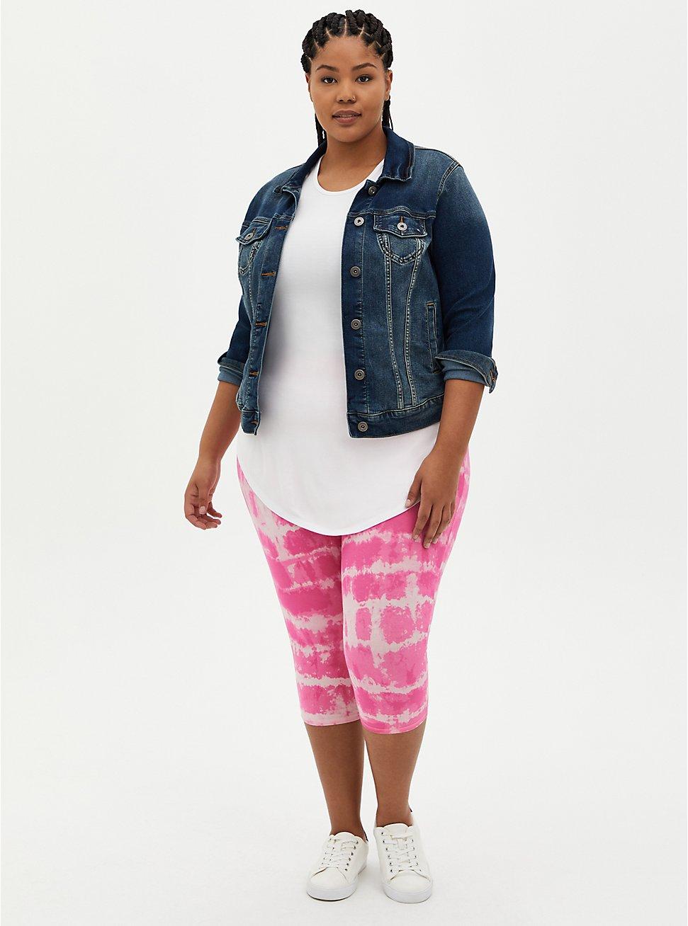 Pedal Pusher Premium Legging - Tie Dye Pink, PINK, hi-res