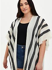 Ivory & White Arrow Stripe Ruana , , alternate