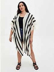 Ivory & White Arrow Stripe Ruana , , hi-res