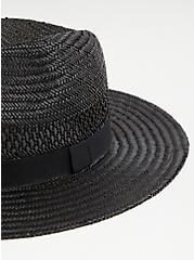 Black Straw Panama Hat, BLACK, alternate