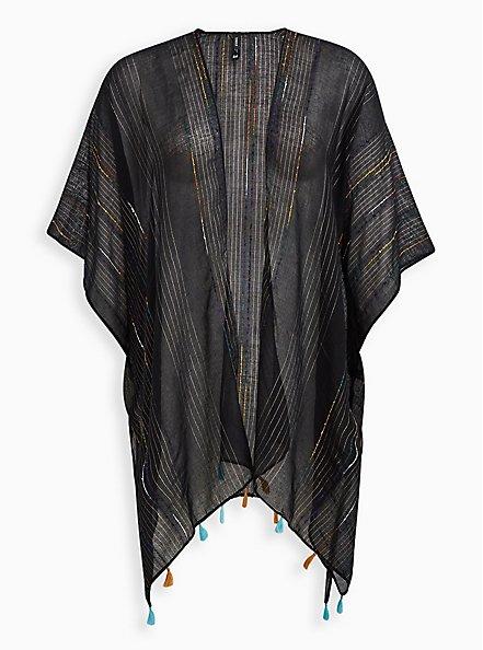 Plus Size Black & Rainbow Stripe Fringe Ruana, , hi-res
