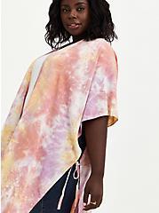 Plus Size Pink Tie Dye Longline Ruana, , alternate