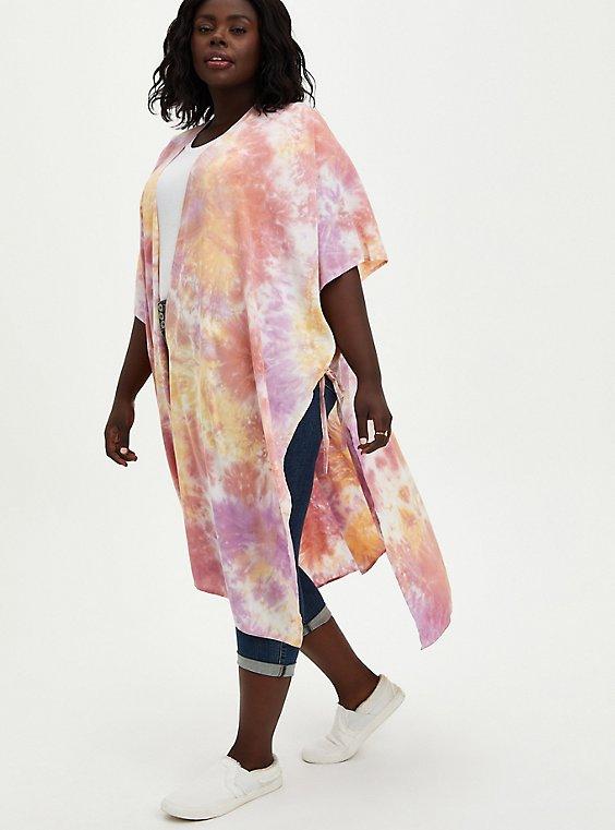 Plus Size Pink Tie Dye Longline Ruana, , hi-res