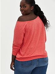 Off Shoulder Sweatshirt - French Terry Red Wash , FIERY RED, alternate