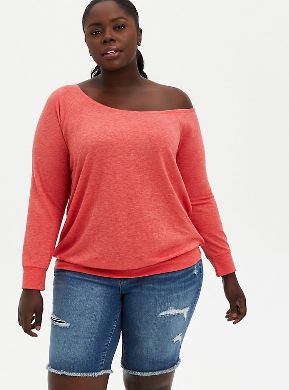 Plus Size Off Shoulder Sweatshirt - French Terry Red Wash , , hi-res