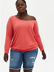 Off Shoulder Sweatshirt - French Terry Red Wash , FIERY RED, hi-res