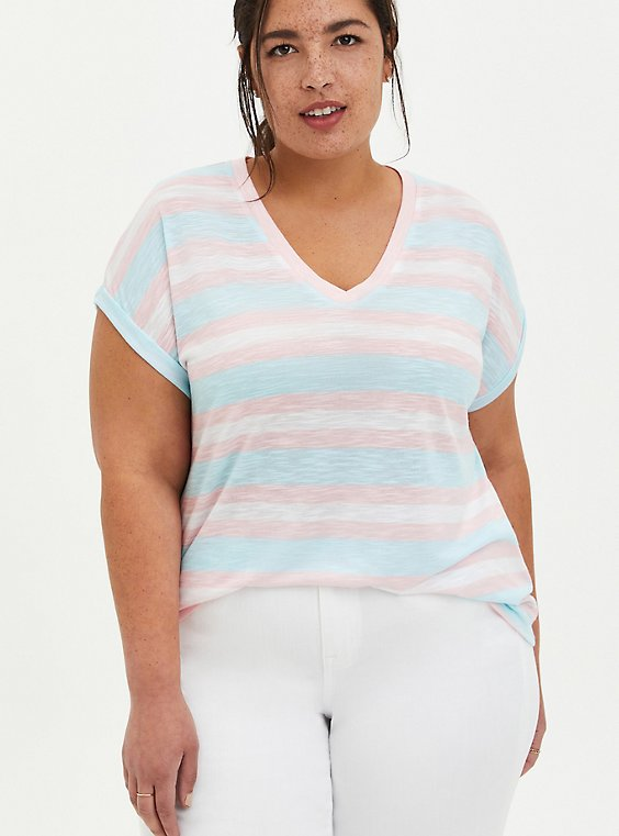 V-Neck Dolman Tee - Multi Stripe Pink, , hi-res