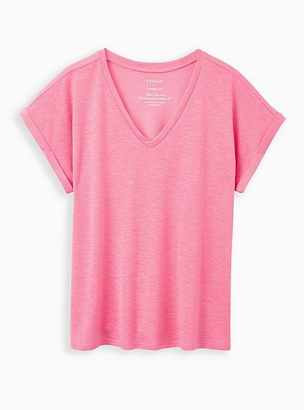 Plus Size Pink V-Neck Dolman Tee, PINK, hi-res