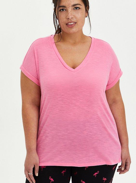 Pink V-Neck Dolman Tee, , hi-res