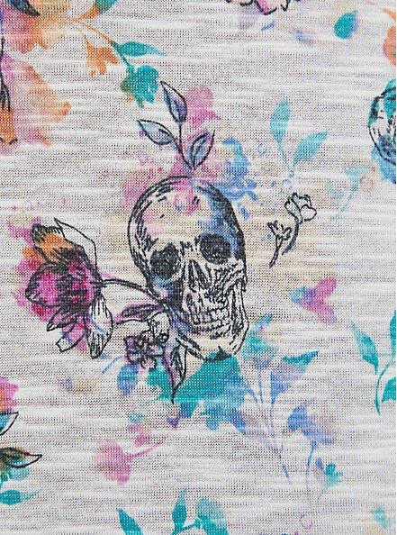 Plus Size Off Shoulder Tee – Super Soft Floral Skull, OTHER PRINTS, alternate