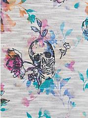 Off Shoulder Tee – Super Soft Floral Skull, OTHER PRINTS, alternate