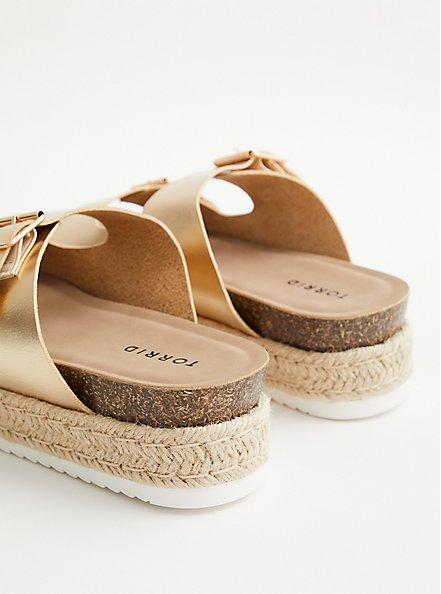 Gold Faux Leather Flatform Sandal, GOLD, alternate