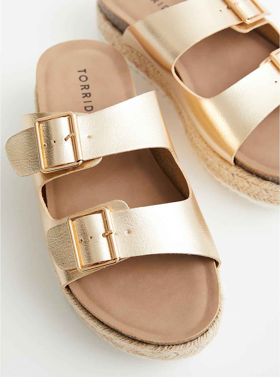Gold Faux Leather Flatform Sandal, GOLD, hi-res