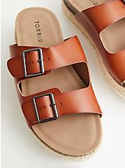 Cognac Faux Leather Flatform Sandal, COGNAC, alternate