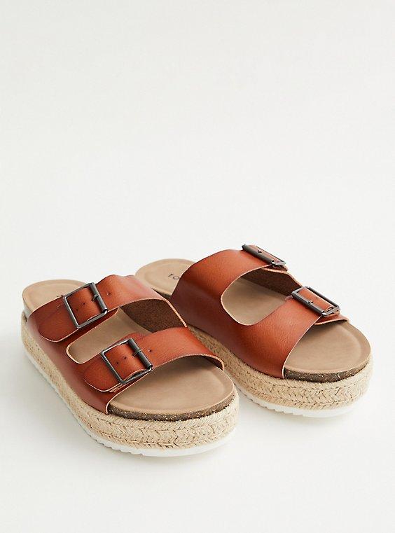 Cognac Faux Leather Flatform Sandal, , hi-res
