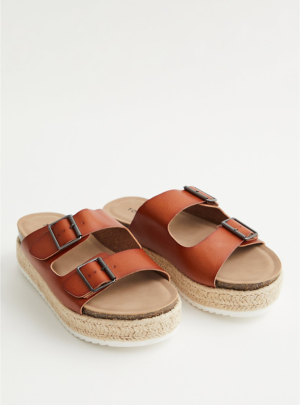 Cognac Faux Leather Flatform Sandal, COGNAC, hi-res