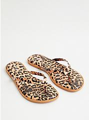 Leopard Faux Leather Flip Flop, ANIMAL, alternate