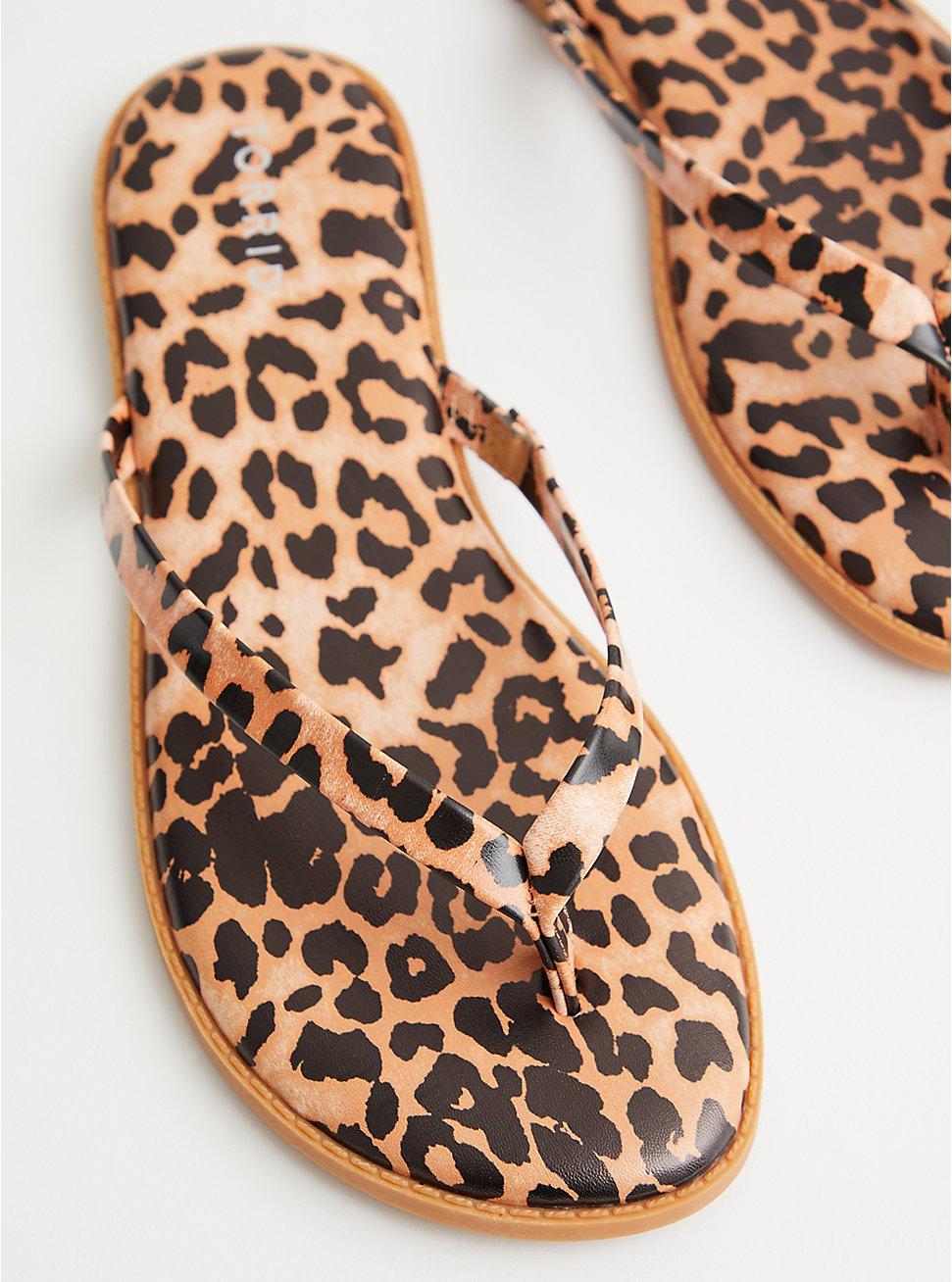 Leopard Faux Leather Flip Flop, ANIMAL, hi-res