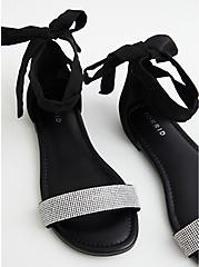 Black Faux Suede Ankle Wrap Sandal, BLACK, alternate