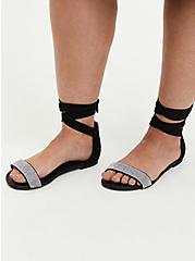 Black Faux Suede Ankle Wrap Sandal, BLACK, hi-res