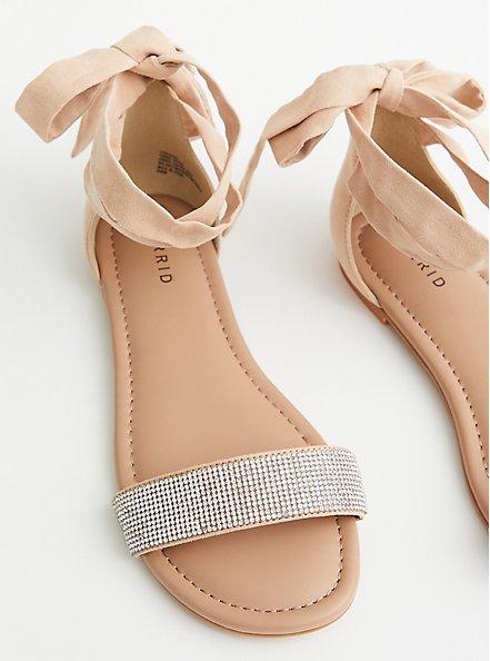 Beige Faux Suede Ankle Wrap Sandal, BEIGE, alternate