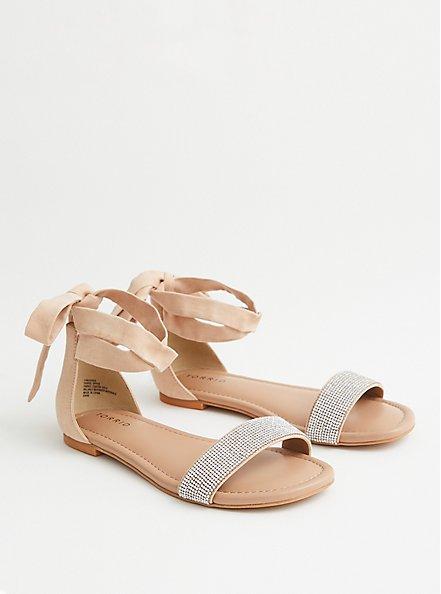 Beige Faux Suede Ankle Wrap Sandal, BEIGE, hi-res