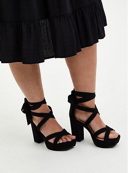 Plus Size Black Faux Suede Lace Platform Heel, BLACK, alternate