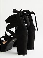 Black Faux Suede Lace Platform Heel, BLACK, alternate
