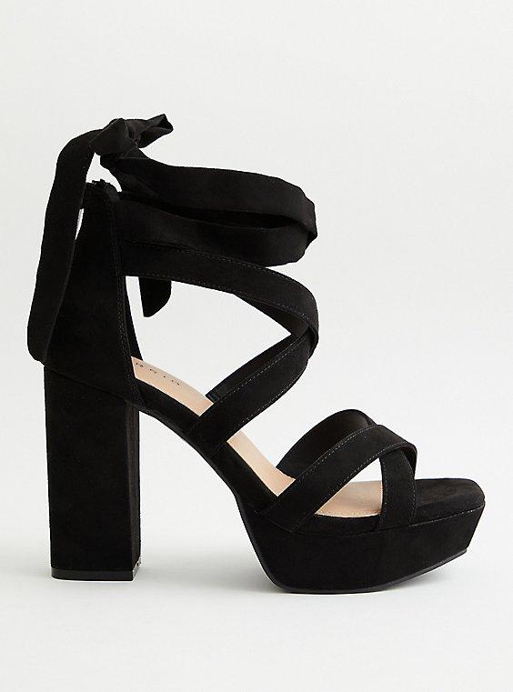 Black Faux Suede Lace Platform Heel, BLACK, hi-res