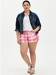 Mid Rise Shortie Short - Vintage Stretch Pink Tie-Dye, PINK CARNATION, alternate