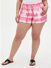 Mid Rise Shortie Short - Vintage Stretch Pink Tie-Dye, PINK CARNATION, hi-res