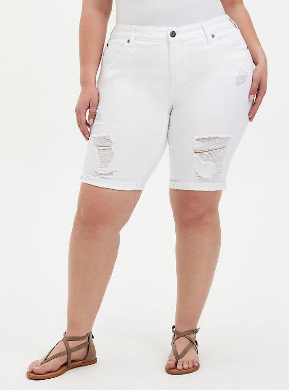 Mid Rise Bermuda Short - Vintage Stretch White, , hi-res