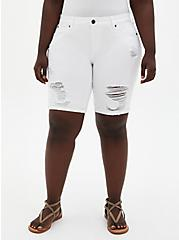 Plus Size Mid Rise Bermuda Short - Vintage Stretch White, , fitModel1-hires
