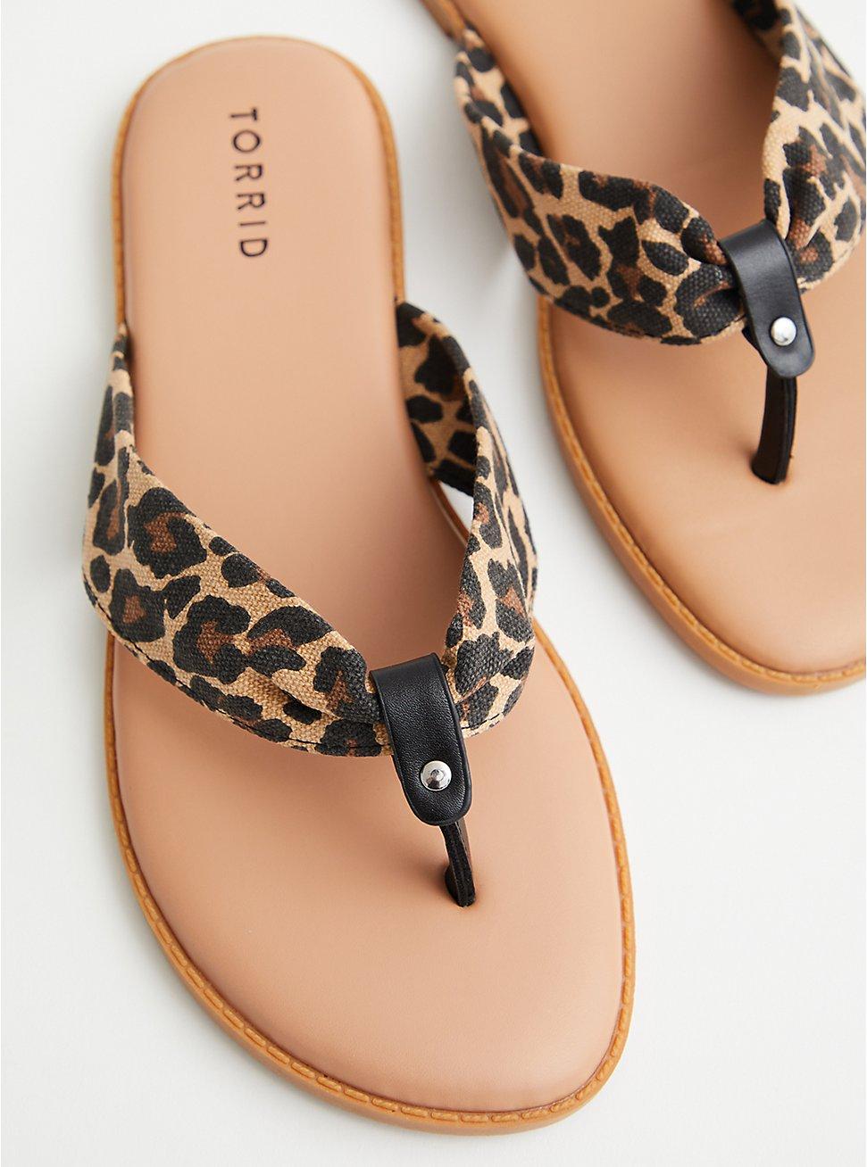 Leopard Canvas Flip Flop, NAVY, hi-res