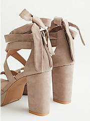 Plus Size Taupe Faux Suede Laceup Platform Heel, TAUPE, alternate