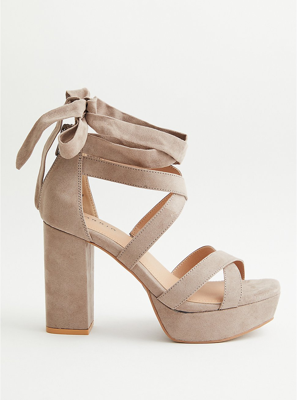 Plus Size Taupe Faux Suede Laceup Platform Heel, TAUPE, hi-res