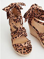 Leopard Faux Suede Ankle Wrap Espadrille Wedge, BROWN, alternate