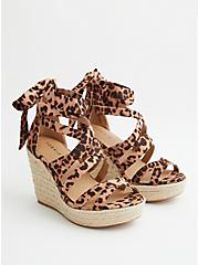 Leopard Faux Suede Ankle Wrap Espadrille Wedge, BROWN, hi-res