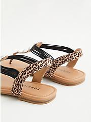 Leopard Faux Suede Studded T-Strap Sandal, ANIMAL, alternate