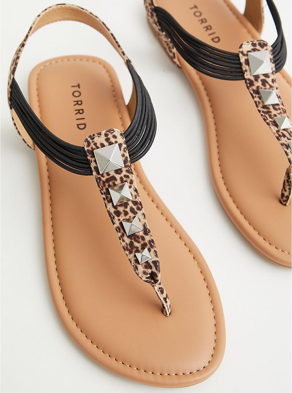 Leopard Faux Suede Studded T-Strap Sandal, ANIMAL, hi-res