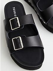 Plus Size Black Faux Leather Flatform Sandal, BLACK, alternate