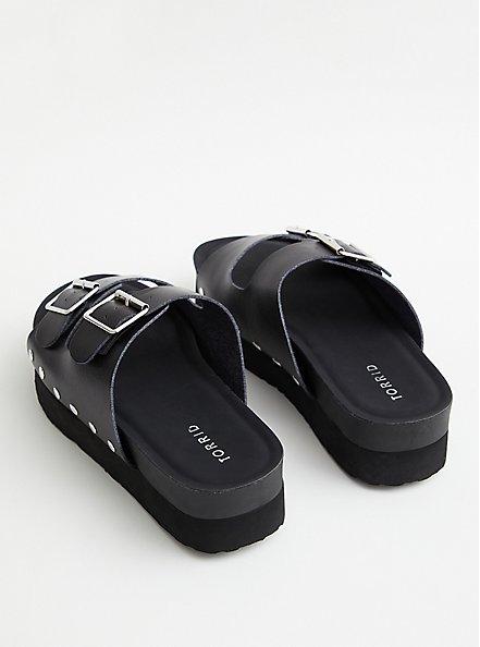Black Faux Leather Flatform Sandal, BLACK, alternate