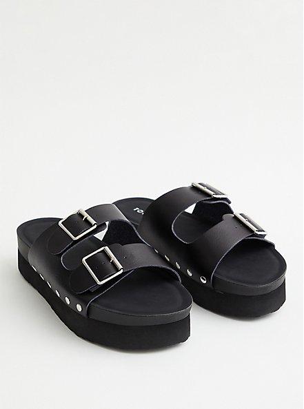 Black Faux Leather Flatform Sandal, BLACK, hi-res