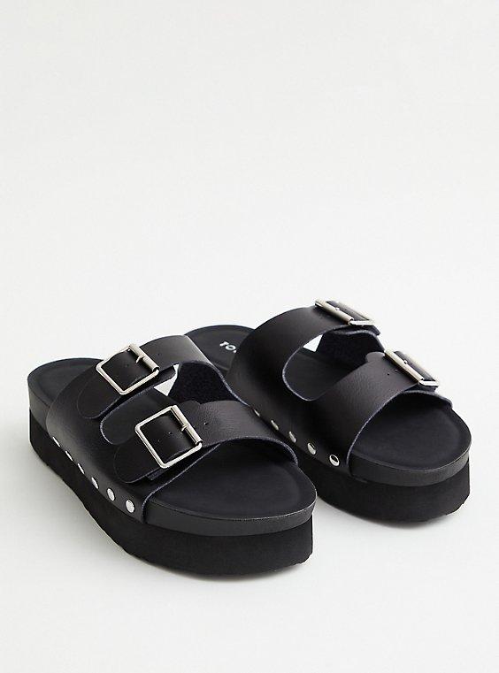 Plus Size Black Faux Leather Flatform Sandal, BLACK, hi-res