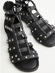 Black Faux leather Stretch Sandal, BLACK, alternate