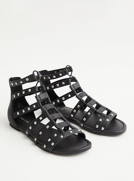 Black Faux leather Stretch Sandal, BLACK, hi-res