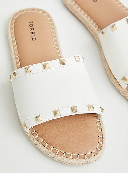 White Faux Leather Studded Espadrille Slide, WHITE, hi-res